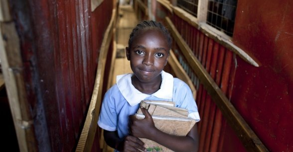Elizabeth attends St Francis School thanks to a cash transfer provided by Concern to her parents. Photo: Abbie Trayler-Smith / Panos Pictures / Concern Worldwide.