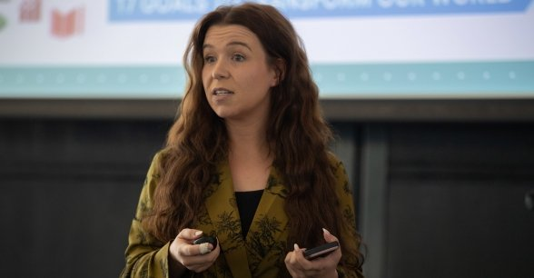 Jessica Maguire, Project Us Coordinator runs and Project Us world café focusing on Climate Action. Pictured at Concern's annual Agents of Change event in Croke Park. Photo: Ruth Medjber / Concern Worldwide.