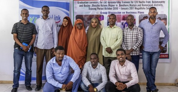 Staff at the Youth Link Somalia office. Photo: Marco Gualazzini / Concern Worldwide.