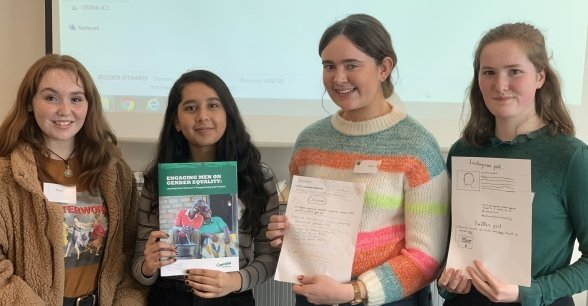 Students Ellen, Shurooq, Lucy and Eve participate in work experience. Photo: Jason Kennedy / Concern Worldwide.