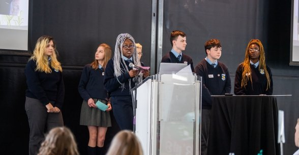 Tallaght Community School students presenting their campaign academy project at Concern's annual Agents of Change event in Croke Park. Photo: Ruth Medjber/ Concern Worldwide.