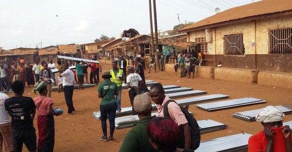 Locals register with Concern to receive assistance.