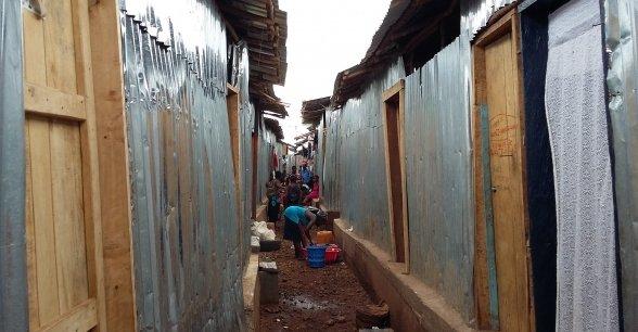 Rows of rebuilt houses in Kroo Bay.