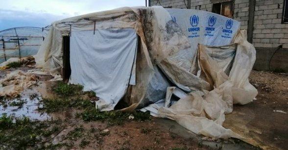 A makeshift shelter in Lebanon.