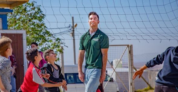 Dublin footballer and Concern Ambassador Michael Darragh Macauley in Iraq.