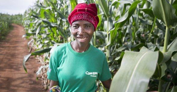 Esime Jenaia at her plot in Chituke village, Mangochi, Malawi.