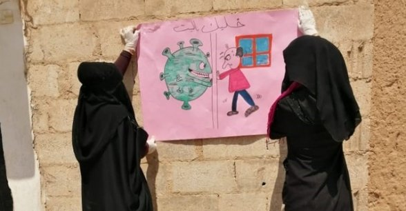 Discussing Covid-19 in a northern Syria community. Photo: Concern Worldwide.