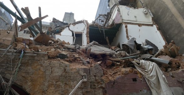Destruction to buildings in Beirut caused by the blast on August 4. Photo: Dom Hunt / Concern Worldwide