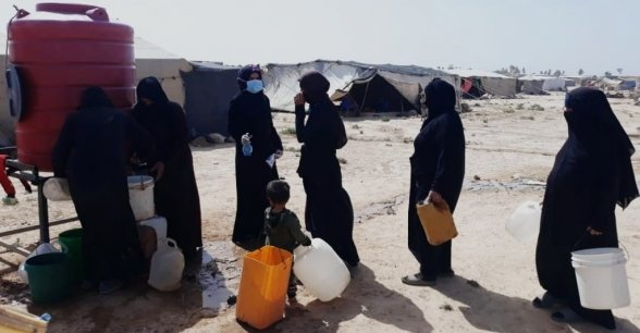 Providing clean water and promoting COVID-19 awareness in a camp in northern Syria. Photo: Concern Worldwide