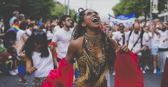 Alessandra Azevedo is an Afro-Brazilian Dancer with Go Dance for Change pictured here at Dublin Pride