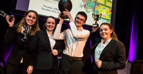 Concern Debates champions St. Kilian's German School from Clonskeagh holding their trophies at The Helix, Dublin. LtoR Leah Fellenz, Aisling Burns, Oscar Toomey, Isabel van der Voort. Photo: Ruth Medjber / Concern Worldwide