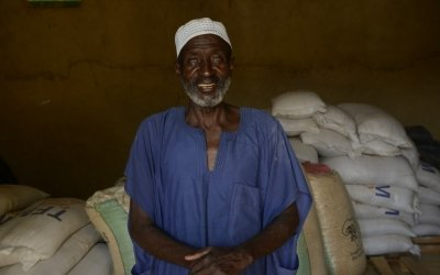 Salifou Ahment, a 70 year old farmer, in Kossoma, used to struggle to feed his livestock during the dry season. Now, instead of having to travel miles to buy food, there is animal feed 'bank', established by Concern.Photo: Chris de Bode / Panos Pictures.