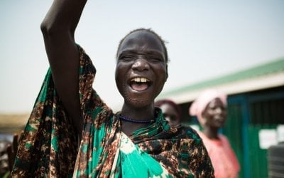 The lead mothers of Concern's nutrition programme in Bentiu's PoC sing and dance.Photo: Steve De Neef/Concern Worldwide.