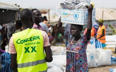 A monthly food distribution in Juba PoC. Photo: Steve De Neef/Concern Worldwide.