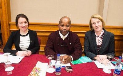 Concern Debates 2017-2018 Semi Final Adjudicators (L-R Emmanuel George, Sandra Marie Donohoe, Marie Griffin. Photo: Ruth Medjber / Concern Worldwide.