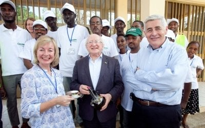 President Michael D. Higgins during his visit to the Concern office in Gambella, Ethiopia.  Photo: Fennells Photography