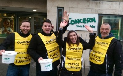 Collection volunteers outside Concern's Dublin office. Photo: Concern Worldwide.