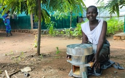 Abamoltho Gudra cooks for her five children using her eco stove in the Pugnido refugee camp in Gambella. Photo: Jennifer Nolan / Concern Worldwide.