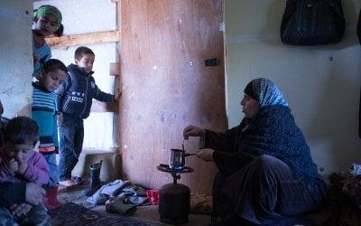 Ayda making coffee on her makeshift burner.