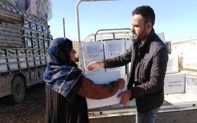 Concern staff distributing hygiene kits in Syria, 2019