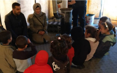 Concern staff deliver a hygiene promotion session to children in Syria, 2019
