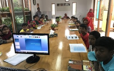 The classroom at the Amrao Manush centre.
