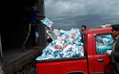 Distribution of 2832 COVID-19 prevention Hygiene Kits at Khankay IDPs camp Dohuk Kurdistan Iraq Photo: Concern Worldwide.