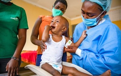 11-month-old Mark Moses is treated at Mukuru Health Centre.