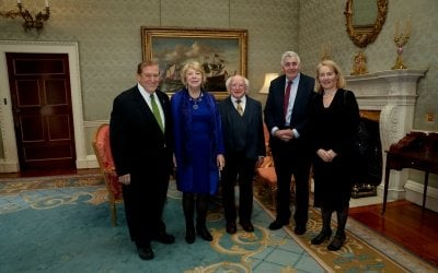 LtoR Former Concern US Chairman Tom Moran, Sabina Higgins, President of Ireland Michael D. Higgins, Concern CEO Dominic MacSorley and Concern UK Executive Director Rose Caldwell at Concern's 50th Anniversary Reception at Áras an Uachtaráin.