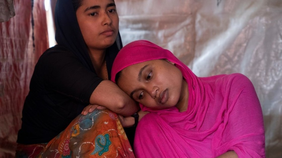Twp young widows received emergency items from Concern Worldwide. Photo: Abir Abdullah / Concern Worldwide.