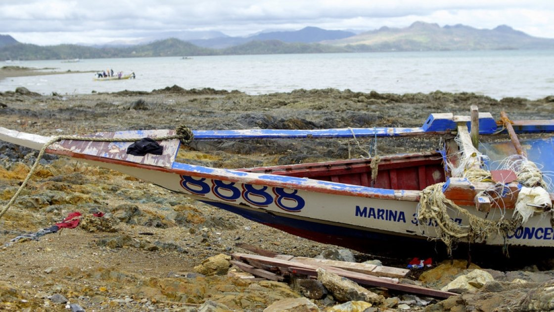 Boats destroyed by Typhoon Haiyan in the Philippines