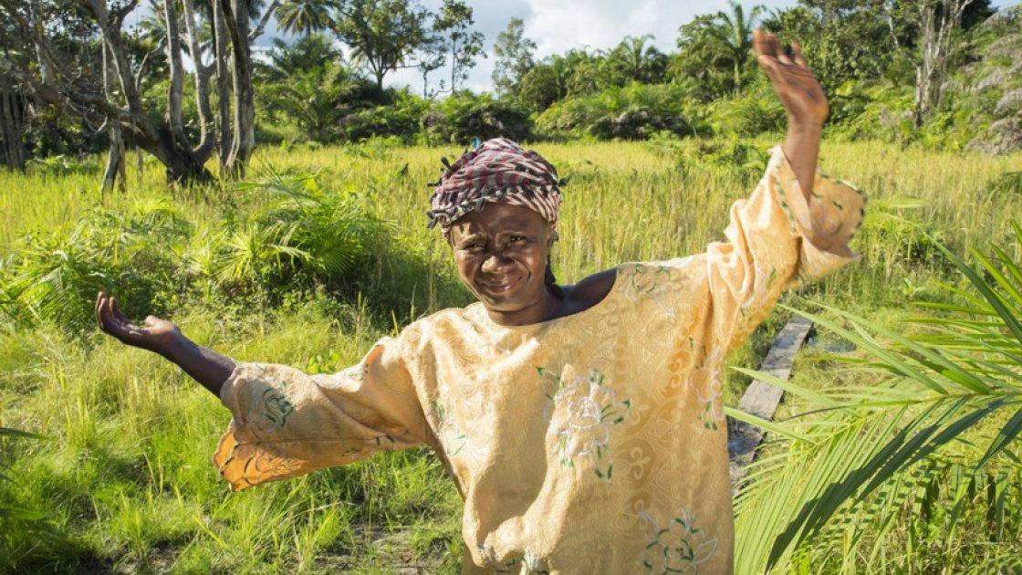 Maria Sankoh farming in Sierra Leone