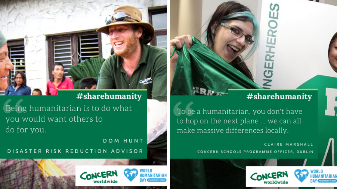 Dom Hunt and Claire Marshall, everyday humanitarians for Concern Worldwide. World Humanitarian Day.