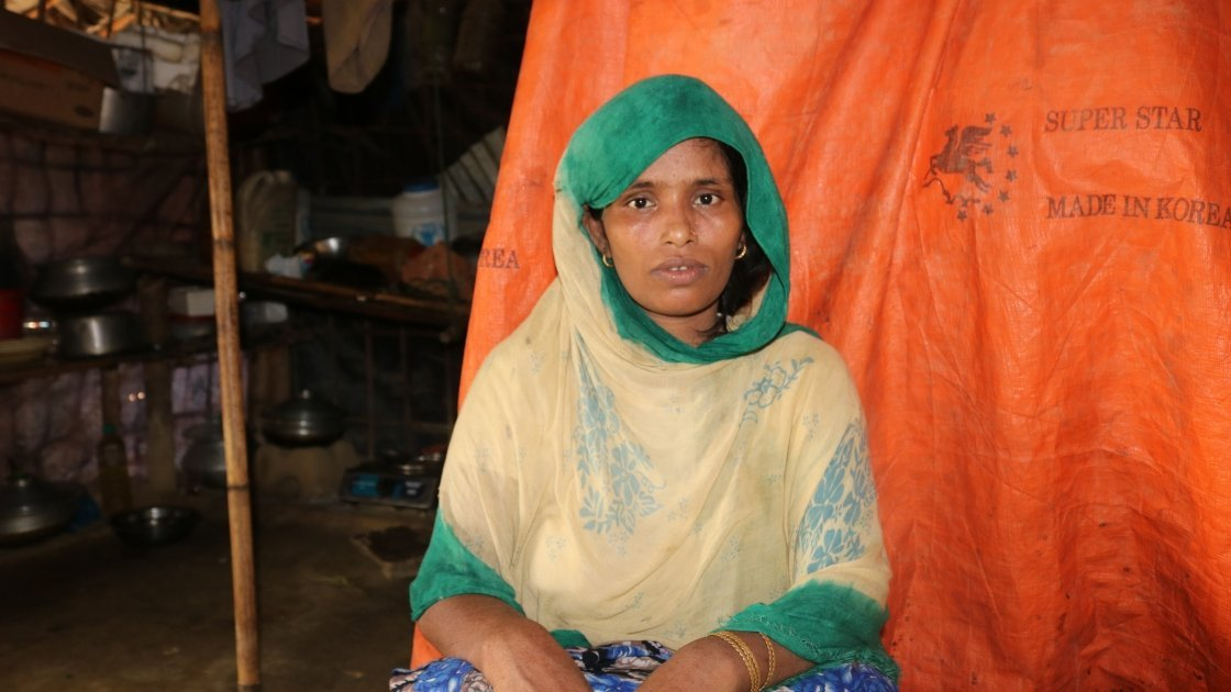Jaheda, who escaped Myanmar and fled to Bangladesh