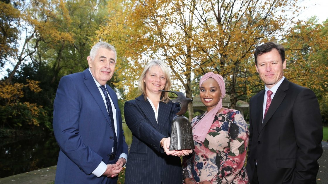Concern CEO Dominic MacSorley, Twitter Managing Director Sinéad McSweeney, Concern Kenya Country Director Amina Abdulla and Broadcaster Anton Savage. Photo: Leon Farrell / Photocall Ireland / Concern Worldwide.