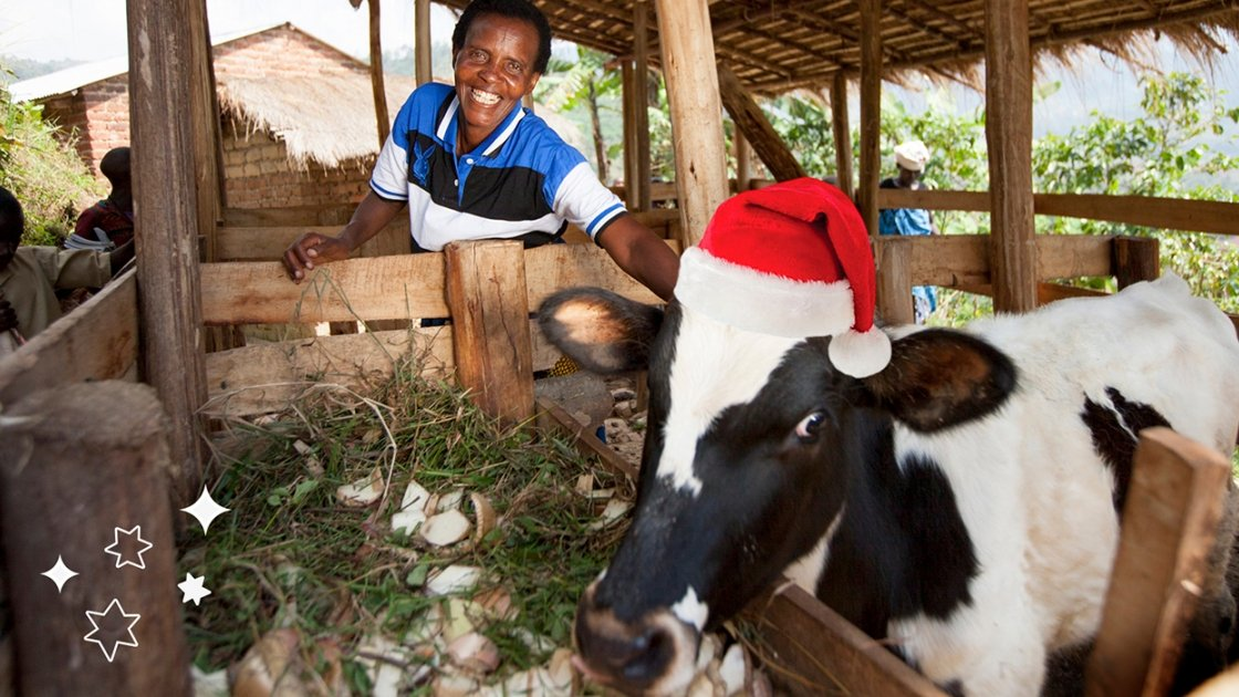 Violette Bukeyeneza with her cow. Photo: Abbie Trayler-Smith / Concern Worldwide.