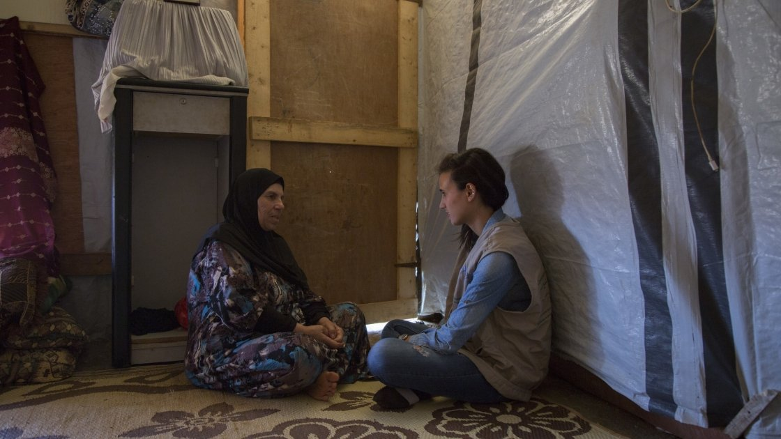 A Syrian refugee speaks to Concern in her home