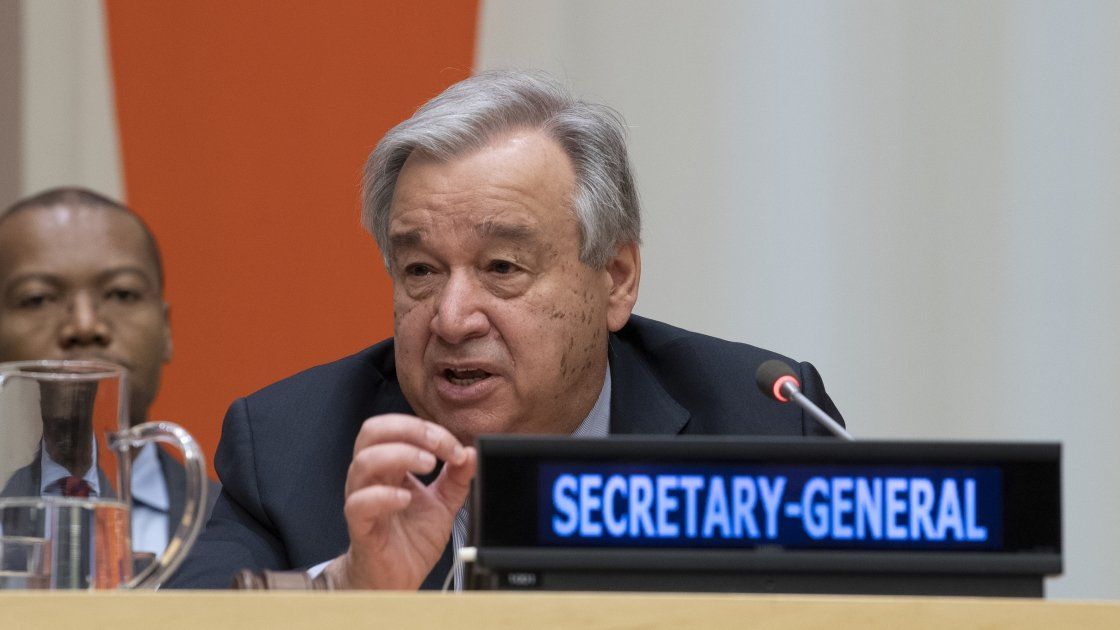 Secretary-General António Guterres speaks at his global town hall meeting with United Nations staff members. Photo: UN Media