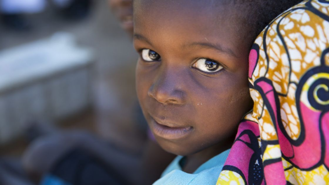 A young girl at a temporary displacement camp in DRC. Photo: Concern Worldwide.