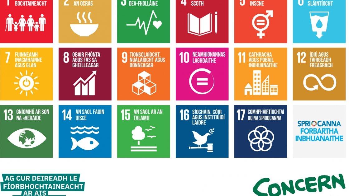 Sustainable Development Goals poster in Irish