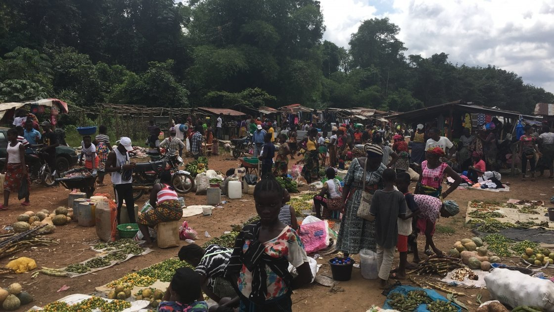 Market in Bokay Town, Grand Bassa, Liberia, 2019. Photo: Catherine Shepperdley.