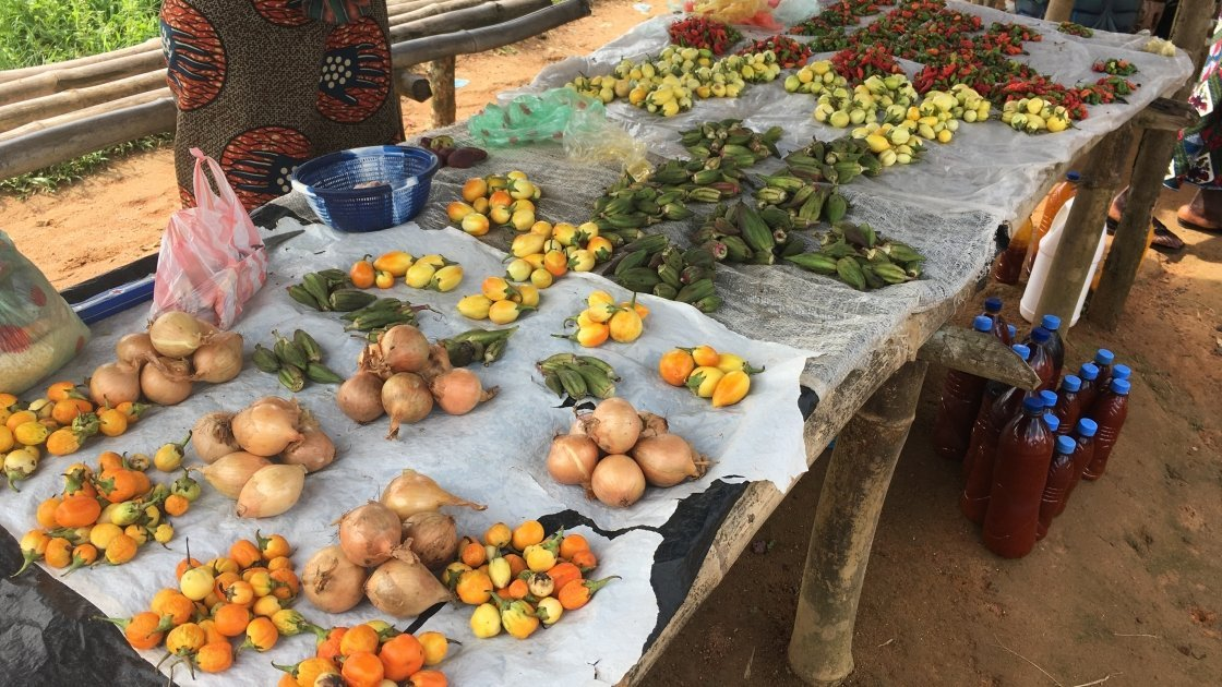 Food available for sale at a local market in Liberia, 2019. Photo: Catherine Shepperdley.