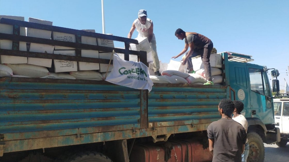 Supplies of food and household items arriving in eastern Tigray for distribution by Concern.
