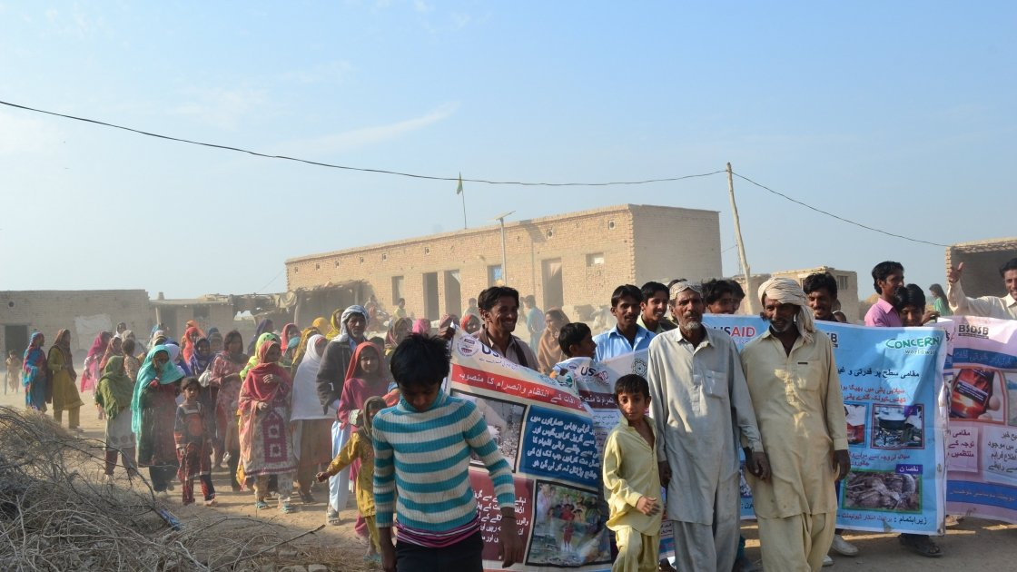 Community-Based Disaster Risk Management awareness walk in the village of Dad Pur Nawra UC Saathi, Jaffarabad. Photo: Hina Brohi/Concern Worldwide.