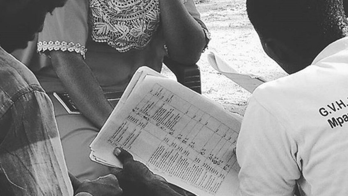 Enumerators practising surveys with paper-based questionnaires during training in Nsanje, Malawi. Photo: Caroline Holo/Concern Worldwide.
