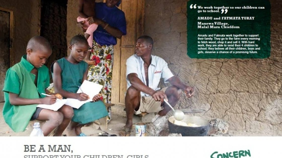 One poster in a series from Sierra Leone to promote positive masculinites.