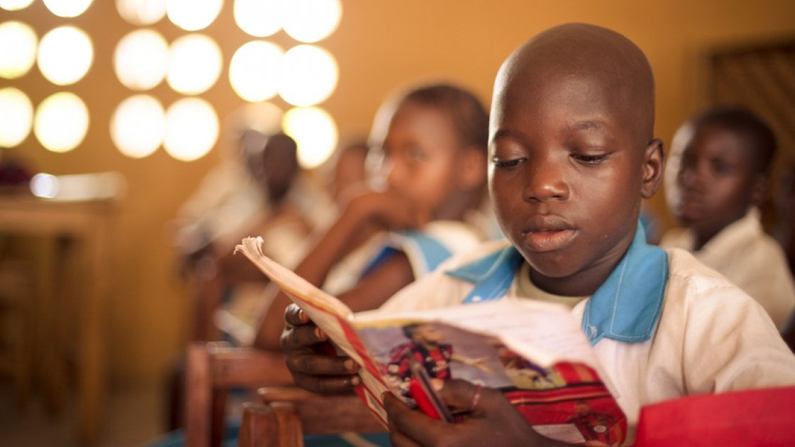 A pupil from Class 3, Baptist Primary School, Rowalla, Sierra Leone. Photo taken by Michael Duff/ Concern Worldwide.
