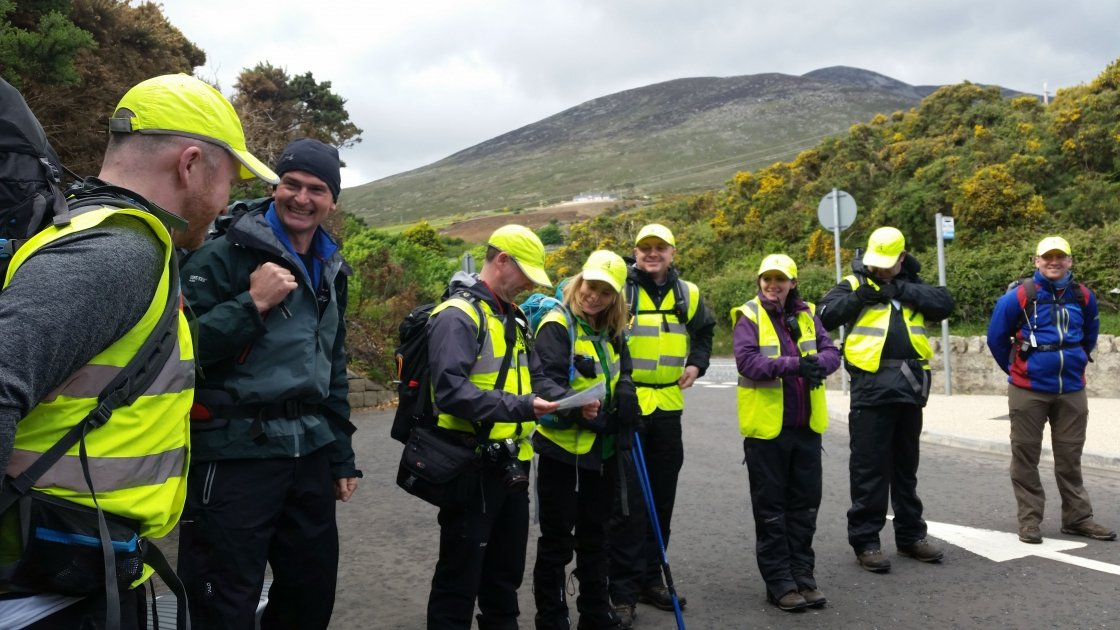 John Corroon briefing guides before the hike up Sliabh Donard in 2015. Photograph taken by: Siobhan O'Connor Concern Worldwide.