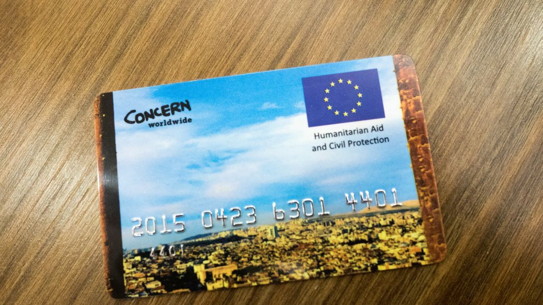 An example of an e-voucher card that is used by Syrian Refugees in Turkey. Photographer: Kevin Carroll/Concern Worldwide.