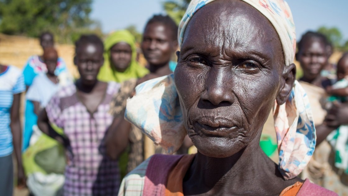 Widowed mother of five, Ahok Agouk Baak is part of Concern's livelihoods programming in Aweil West, Northern Bahr el North, South Sudan. Photo: Kieran McConville/Concern Worldwide.